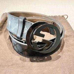 Gucci Interlockong GG Black Imprime Belt